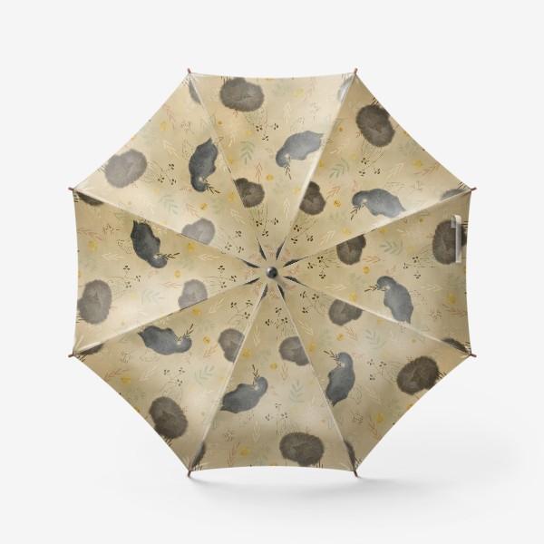 Зонт «Спящие котики. Растения. Паттерн с текстурой.»