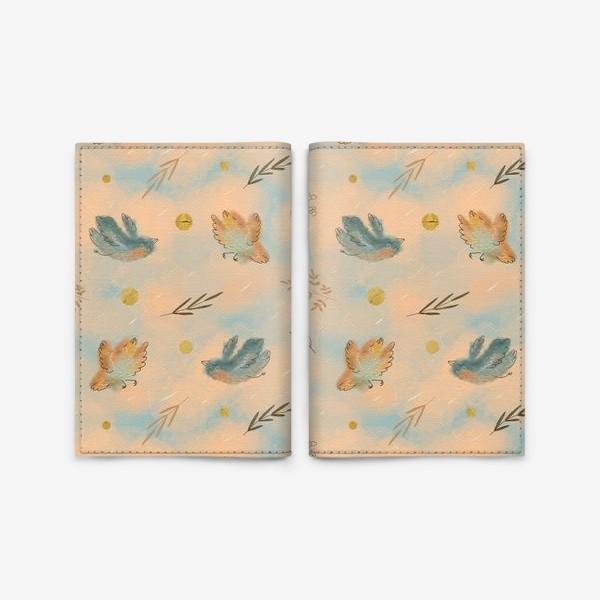 Обложка для паспорта «Птицы. Паттерн с текстурой.»