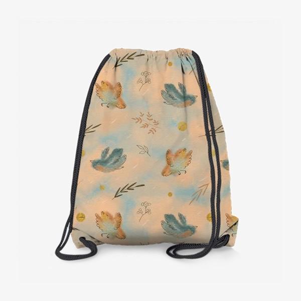 Рюкзак «Птицы. Паттерн с текстурой.»