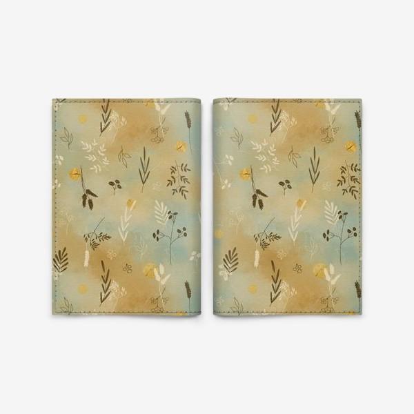 Обложка для паспорта «Растения. Веточки. Золотые элементы. »