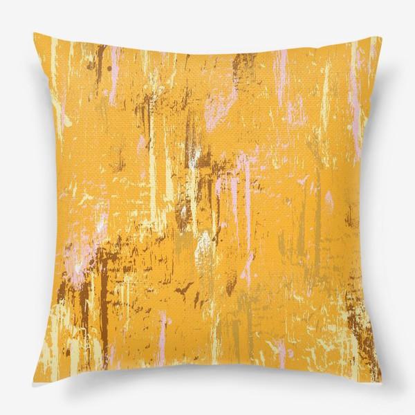 Подушка «мазки краски, оранжевый»