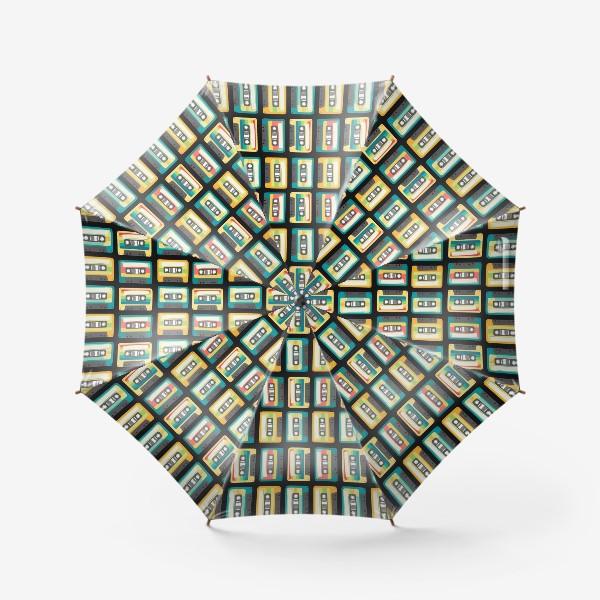 Зонт «Ретро кассеты на черном фоне»