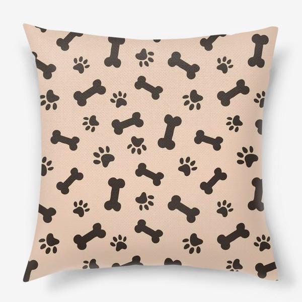 Подушка «Отпечатки лапок и косточки, домашние животные»