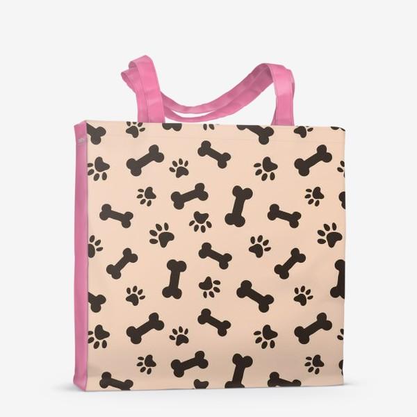 Сумка-шоппер «Отпечатки лапок и косточки, домашние животные»