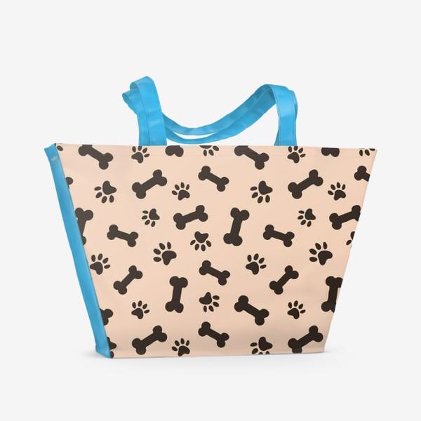 Пляжная сумка «Отпечатки лапок и косточки, домашние животные»