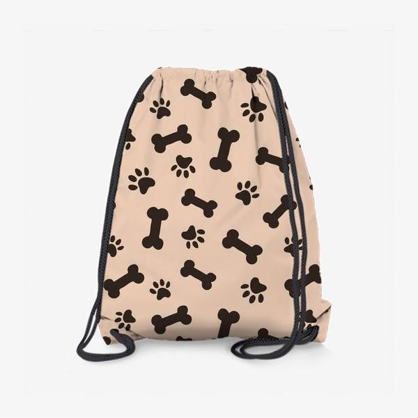 Рюкзак «Отпечатки лапок и косточки, домашние животные»