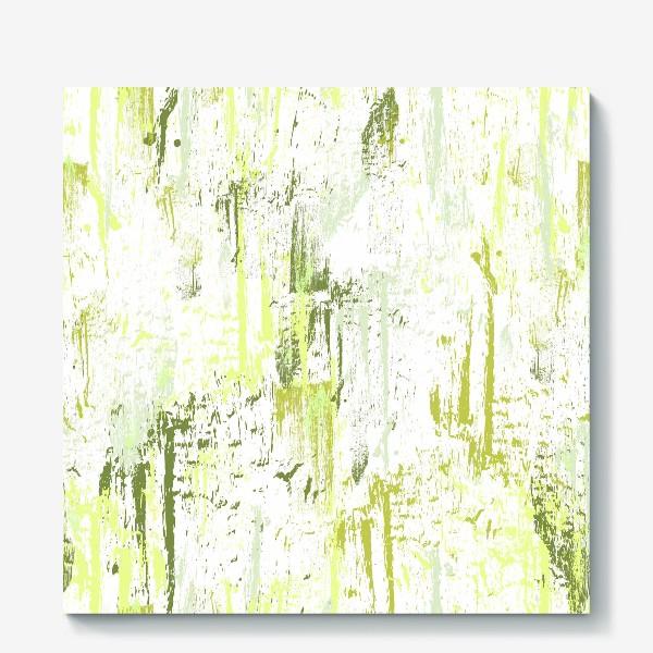 Холст «зелёные мазки краски»