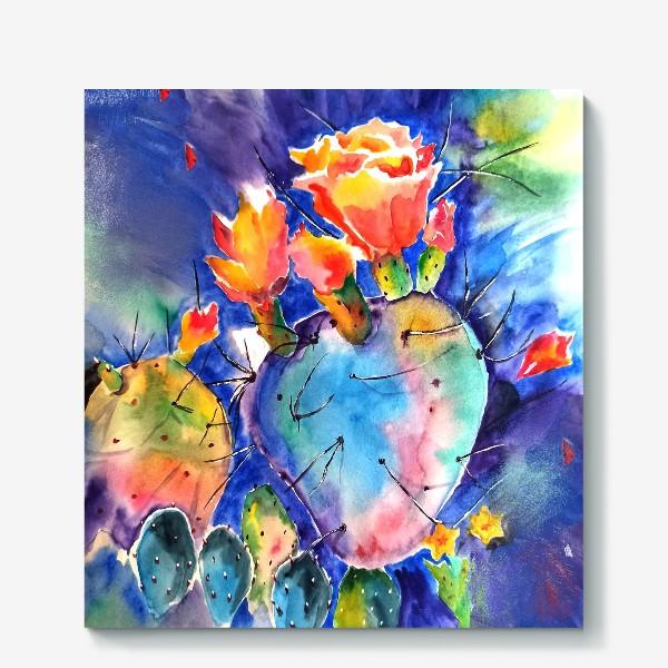 Холст «кактус яркий принт цветок»