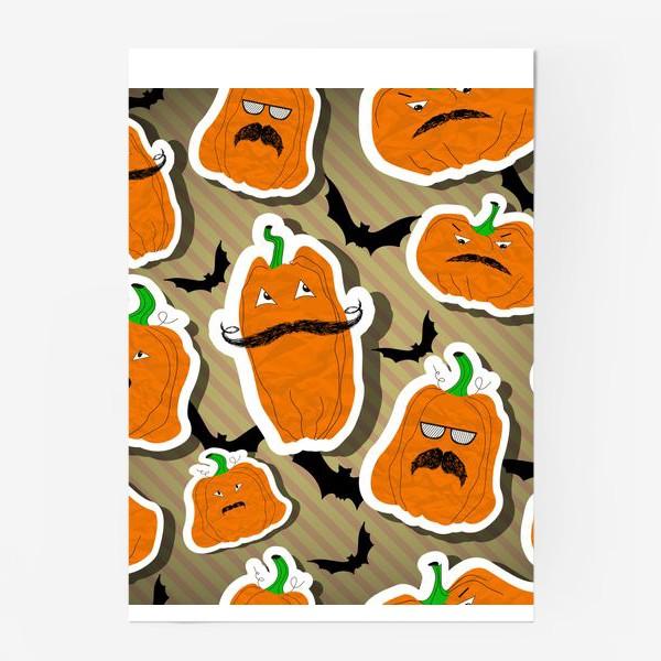 Постер «Хеллоуин. Тыква. Летучая мышь.»
