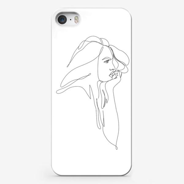 Чехол iPhone «Девушка, профиль, монолиния»