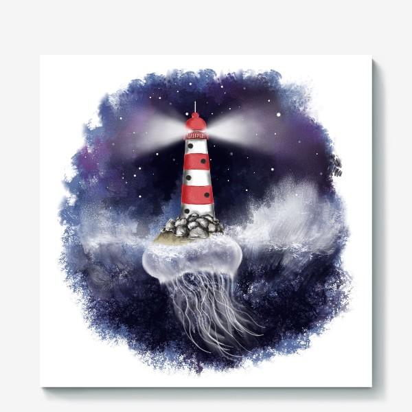 Холст «Маяк. Море. Космическая медуза.»
