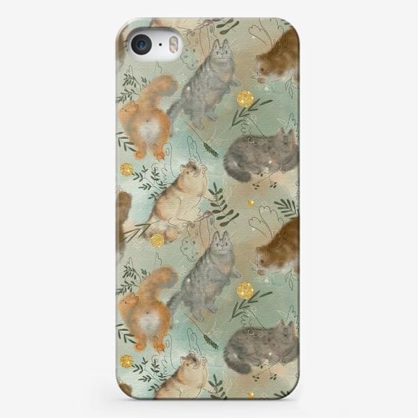Чехол iPhone «Котики. Паттерн с текстурой»