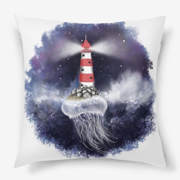 Подушка «Маяк. Море. Космическая медуза.»