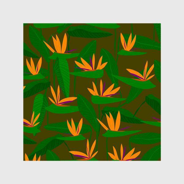 Шторы «тропические цветы, стрелиция»