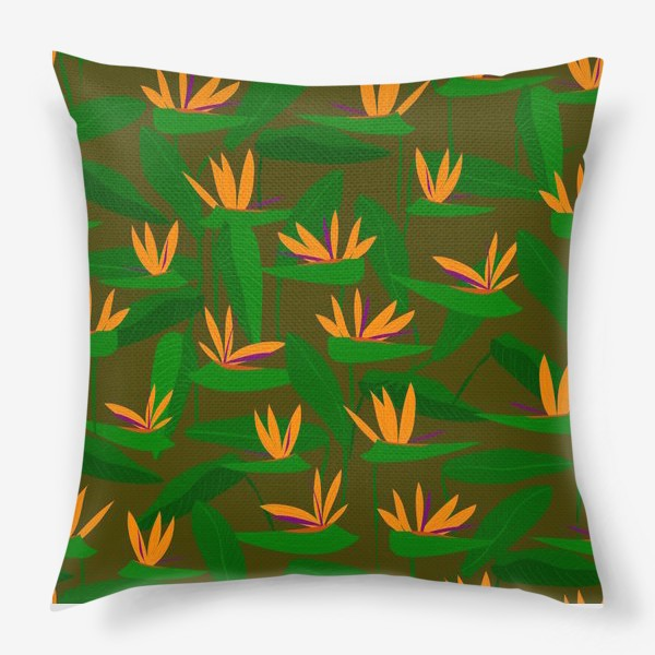 Подушка «тропические цветы, стрелиция»
