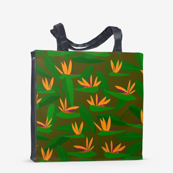 Сумка-шоппер «тропические цветы, стрелиция»