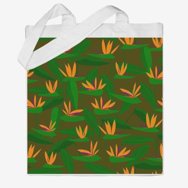 Сумка хб «тропические цветы, стрелиция»