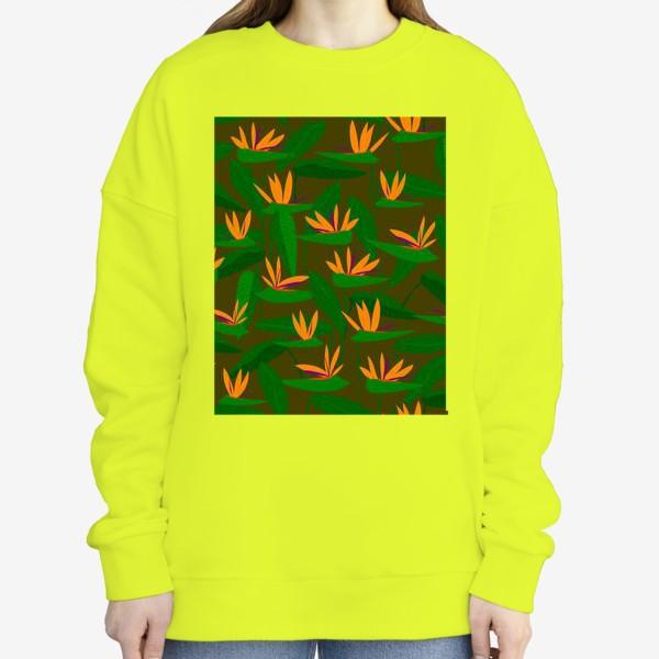 Свитшот «тропические цветы, стрелиция»