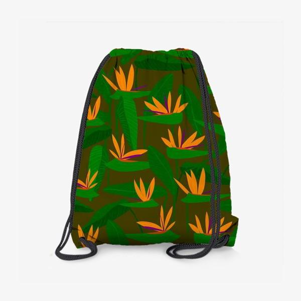 Рюкзак «тропические цветы, стрелиция»