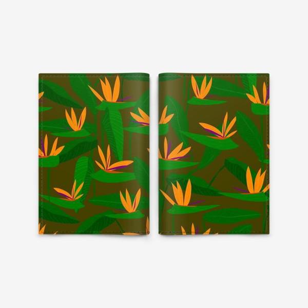 Обложка для паспорта «тропические цветы, стрелиция»