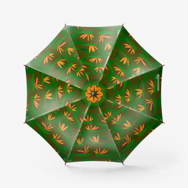 Зонт «тропические цветы, стрелиция»