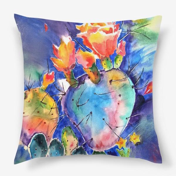 Подушка «кактус яркий принт цветок»