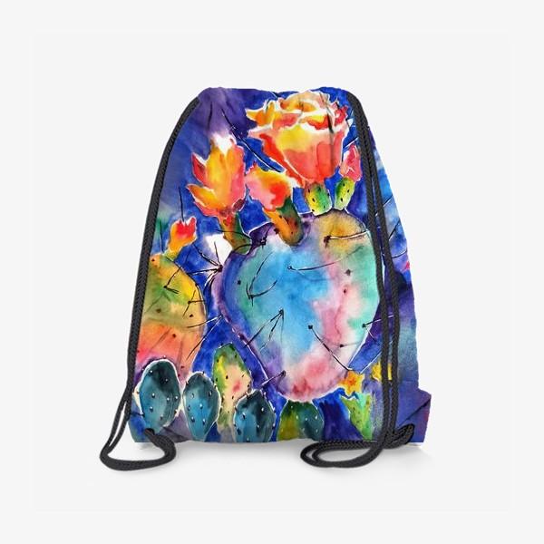 Рюкзак «кактус яркий принт цветок»