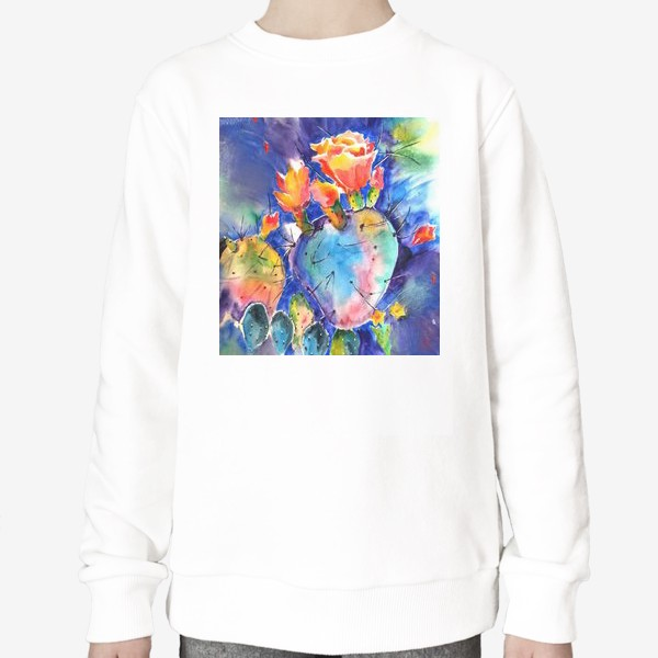 Свитшот «кактус яркий принт цветок»