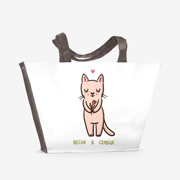 Пляжная сумка «Милая кошка с цветком. Весна в сердце»