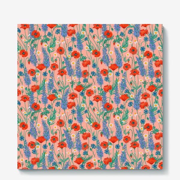 Холст «Полевые цветы на розовом фоне: маки, ромашки, васильки, иван-чай»