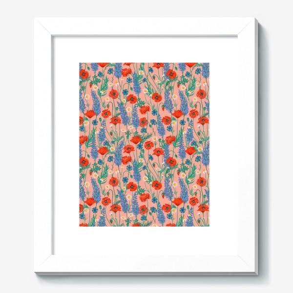 Картина «Полевые цветы на розовом фоне: маки, ромашки, васильки, иван-чай»