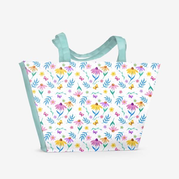 Пляжная сумка «Цветы ромашки»