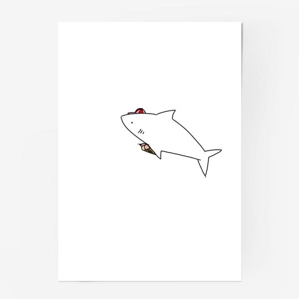 Постер «Акула в кепочке с рожком мороженого»