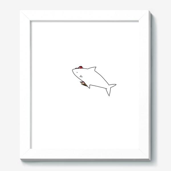 Картина «Акула в кепочке с рожком мороженого»