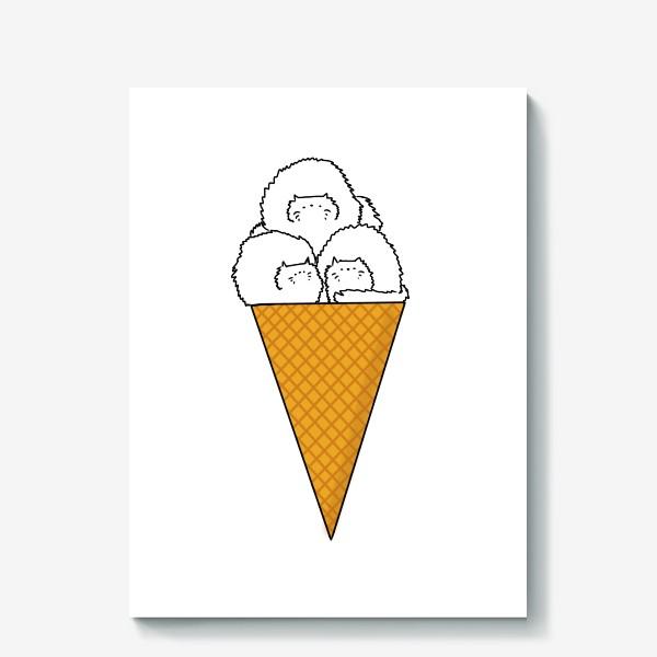 Холст «Котики. Рожок мороженого. Летнее настроение »