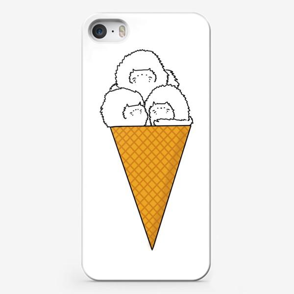 Чехол iPhone «Котики. Рожок мороженого. Летнее настроение »