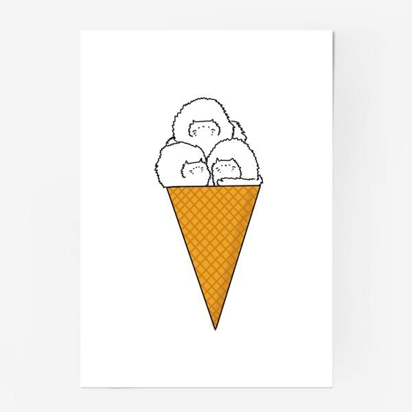 Постер «Котики. Рожок мороженого. Летнее настроение »