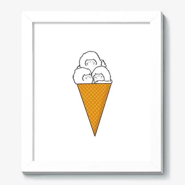 Картина «Котики. Рожок мороженого. Летнее настроение »
