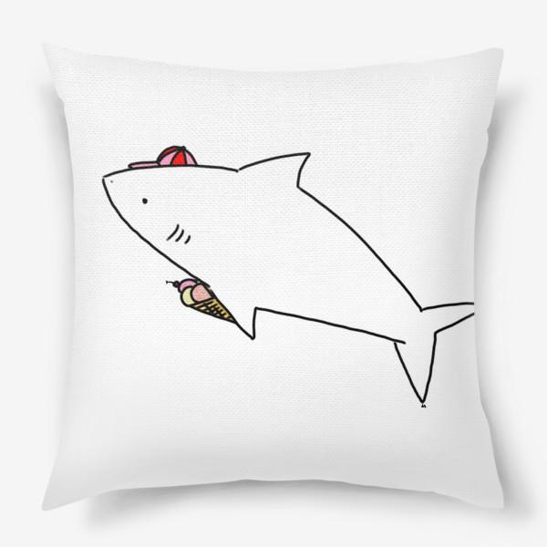 Подушка «Акула в кепочке с рожком мороженого»