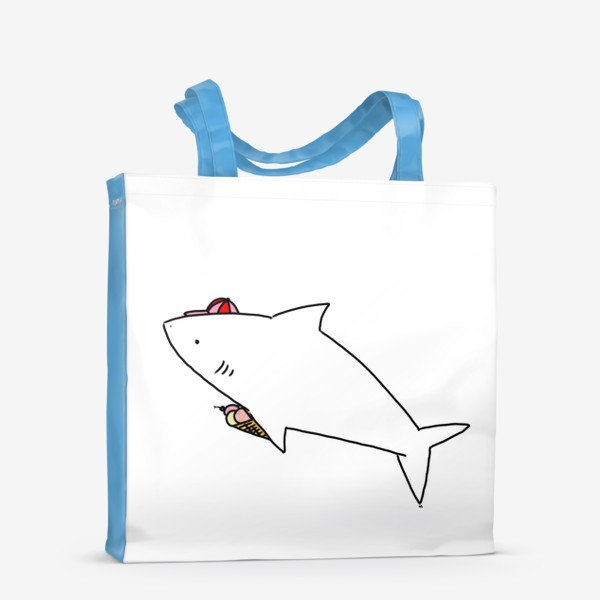 Сумка-шоппер «Акула в кепочке с рожком мороженого»