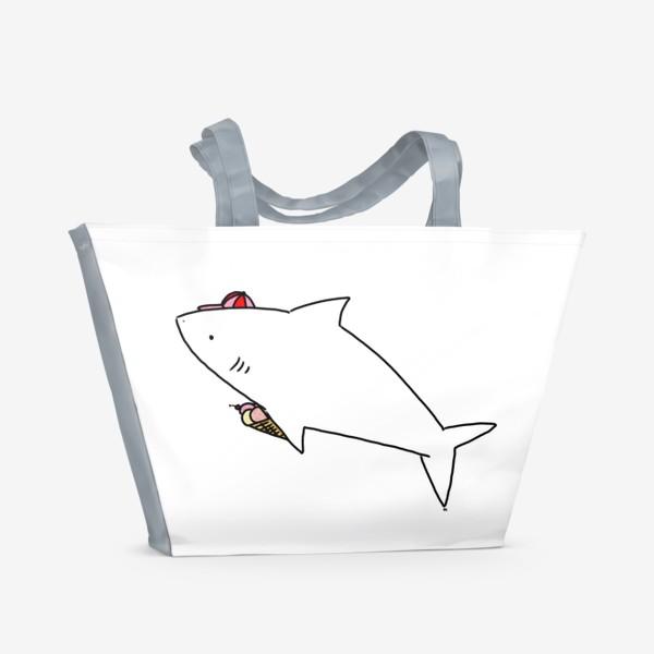 Пляжная сумка «Акула в кепочке с рожком мороженого»
