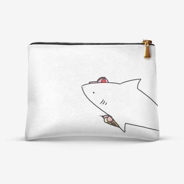 Косметичка «Акула в кепочке с рожком мороженого»