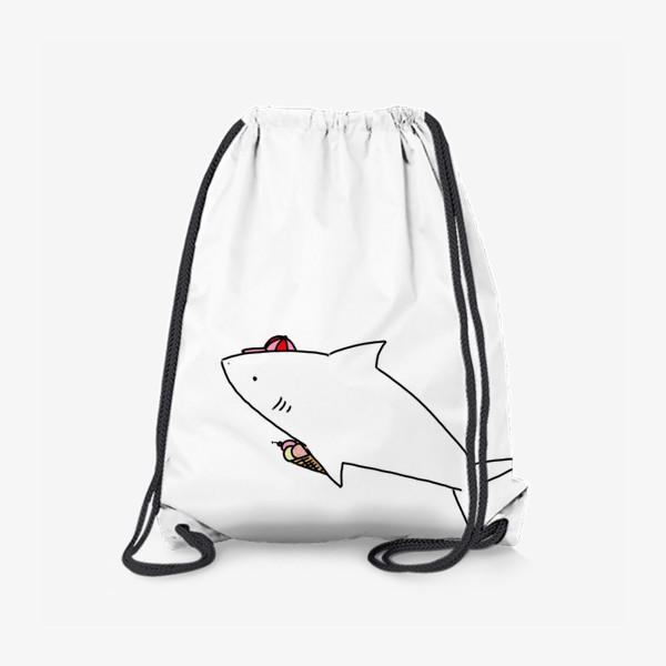 Рюкзак «Акула в кепочке с рожком мороженого»