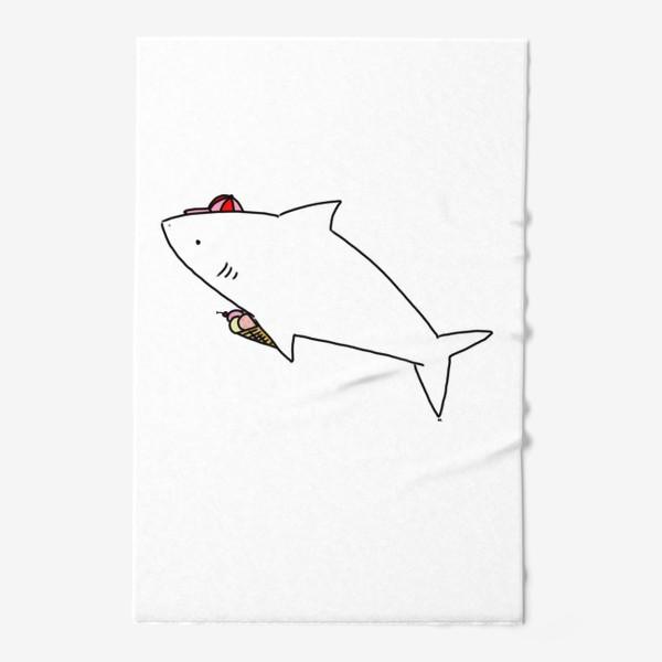 Полотенце «Акула в кепочке с рожком мороженого»