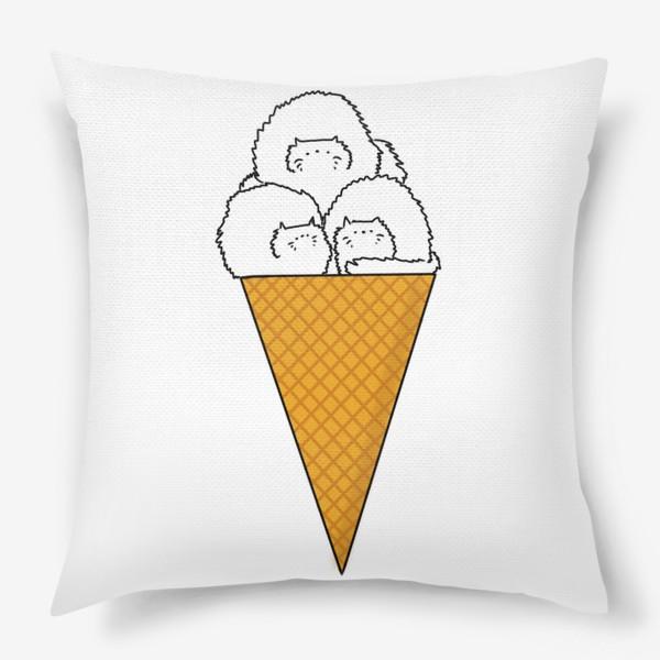 Подушка «Котики. Рожок мороженого. Летнее настроение »