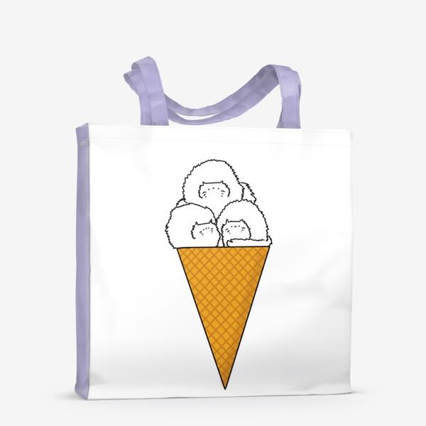 Сумка-шоппер «Котики. Рожок мороженого. Летнее настроение »