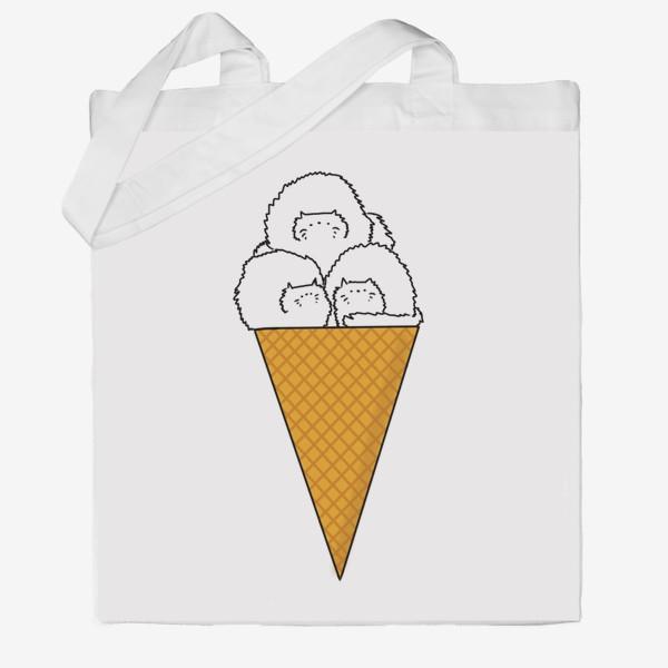 Сумка хб «Котики. Рожок мороженого. Летнее настроение »