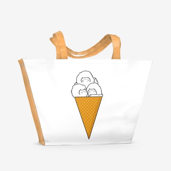 Пляжная сумка «Котики. Рожок мороженого. Летнее настроение »