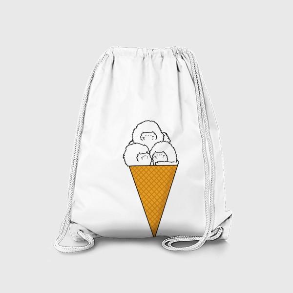Рюкзак «Котики. Рожок мороженого. Летнее настроение »