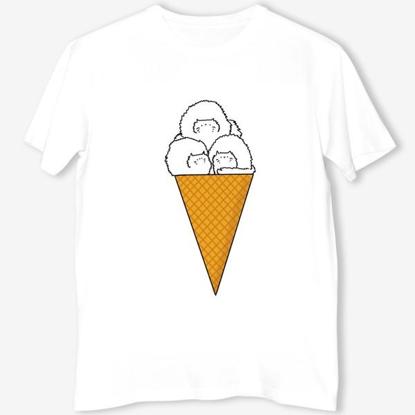 Футболка «Котики. Рожок мороженого. Летнее настроение »